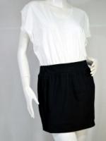 FQ&L เดรสสั้นท่อนบนขาวออฟไว้ท์ ล่างดำ ผ้ายืด