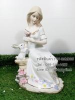 ของขวัญวันปีใหม่เก๋ๆ ตุ๊กตาหญิงสาวนั่งเล่นกระต่าย