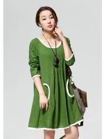ชุดคลุมท้อง แขนยาว สีเขียว เนื้อผ้าฝ้ายด้านข้างมีกระเป๋าไว้ใส่ของ