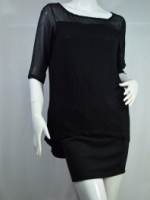 MNG เสื้อเนื้อผ้ายืดเบาสบาย ด้านบนและกลางหลังเย็บชีฟองสีดำตัด