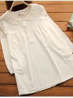 เสื้อคลุมท้อง สีขาว แขน5ส่วน ตัวชุดเป็นผ้าฝ้าย แบบเรียบร้อย น่ารัก ใส่สบาย
