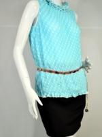 EUER WIND เสื้อสีฟ้าลายจุดขาวแขนกุด อัดจีบทั้งตัว ผ้าชีฟอง