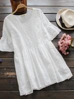 เสื้อคลุมท้อง ผ้าลูกไม้สีขาว แขนเสื้อมีระบาย ผ้าฝ้าย ใส่สบายไม่ร้อน