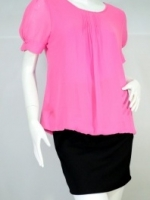 @DRESS เสื้อ ผ้าชีฟองสีชมพู