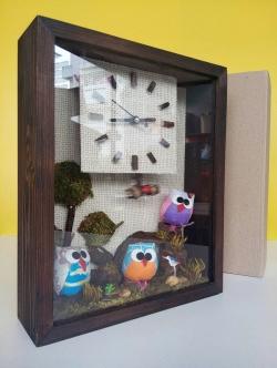 นาฬิกาแขวนผนังเก๋ๆประดับบ้าน รุ่นนกฮูก 3 ตัว