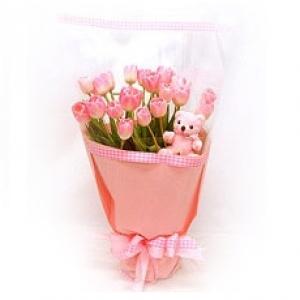 ช่อทิวลิปชมพูวาเลนไทน์แสนหวาน 20 ดอกพร้อมหมีน้อยน่ารัก
