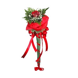 ช่อกุหลาบวาเลนไทน์แดงหรือขาว 1 ดอก