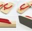Slim Geta-02 รองเท้าเกี๊ยะแบบเรียบไม้ธรรมชาติ เชือกสีแดง thumbnail 5