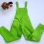 เอี๊ยมกางเกงขายาวผ้าโซล่อน สม๊อคเอว สีเขียว thumbnail 1