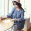 เสื้อคลุมท้อง แขนห้าส่วน คอวี ผ้าฝ้าย สีฟ้า thumbnail 4