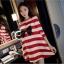 เสื้อคลุมท้องสไตล์เกาหลี ผ้ายืดลายขาว-แดงใส่สบายมากค่ะ thumbnail 1