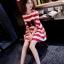 เสื้อคลุมท้องสไตล์เกาหลี ผ้ายืดลายขาว-แดงใส่สบายมากค่ะ thumbnail 3