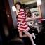 เสื้อคลุมท้องสไตล์เกาหลี ผ้ายืดลายขาว-แดงใส่สบายมากค่ะ thumbnail 2