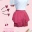 จั๊มสูท ตัวเสื้อลูกไม้เนื้อดีสีขาว Cherry Dress แต่งทรงพอง ๆ เหมือนตุ๊กตาที่แขนเสื้อ ตัดต่อด้วยกางเกงสีโอรส ผูกโบว์ที่เอว สวย เป๊ะ น่ารักมากๆ เลยค่ะ thumbnail 1