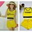 Haribo เหลือง เซตเสื้อครอป + กางเกงขาสั้น ผ้าลาครอส แนวสปอร์ท thumbnail 1