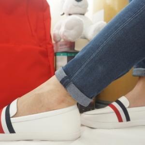 รองเท้าสไตล์เกาหลี Loafer -ขาว มีแถบคาด Size 36