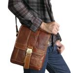 กระเป๋าสะพายข้างและถือ หนังแท้ ขนาด 10 นิ้ว สามารถใส่ I-Pad ได้พอดี (ตัวล็อกด้านหน้า)