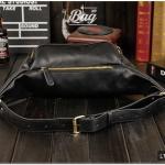 กระเป๋าคาดอก กระเป๋าคาดเอว หนัง PU สีดำ | LT03