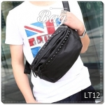 กระเป๋าคาดอก หนัง PU สีดำ | LT12