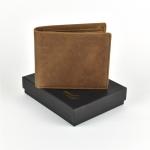 OW-829 ของขวัญวันเกิด กระเป๋าสตางค์ผู้ชาย หนังแท้ ใบสั้น สีน้ำตาล