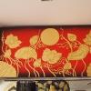 ภาพดอกบัว พื้นแดงทอง งานปิดทองคำแท้ ขนาดกว้าง120x60ซม