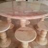 โต๊ะหินอ่อนขนาด 120 เซนติเมตร เก้าอี้ 6 โต๊ะสูง 80 เซนติเมตร + จานหมุน 70 เซนติเมตร