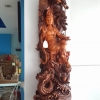 เจ้าแม่กวนอิม มังกร หงษ์ เรซิ่นสีไม้ สูง 100 cm