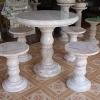 โต๊ะหินอ่อนขนาด 90 เซนติเมตร เก้าอี้ 4 โต๊ะสูง 80 เซนติเมตร