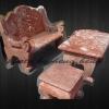 โต๊ะหินอ่อนสี่เหลี่ยมสีแดง หินอ่อนแกะสลัก ยาว2เมตร