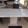 โต๊ะหินอ่อนสี่เหลี่ยม ขนาด กว้าง 65 เซนติเมตร ยาว 120 เซนติเมตร สูง 80 เซนติเมตร (ไม่รวมเก้าอี้)