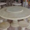 โต๊ะหินอ่อนสีน้ำผึ้งทอง ขนาด 140 เซนติเมตร เก้าอี้ 6 ตัว โต๊ะสูง 80 เซนติเมตร