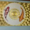 ภาพ ปลาคาร์ฟ คู่เงินทอง พื้นขาว ปิดทองคำเปลวแท้100% ขนาดกว้าง120x60ซม