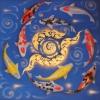 ภาพ ปลาคราฟ ไหว้ วนน ( เงิน ทอง สุขภาพ ไหลเวียนดี ) ขนาด 1 x 1 เมตร