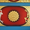ภาพ ปลาคาร์ฟ คู่เงินทอง พื้นดำแดง ขนาดกว้าง120x60ซม