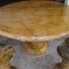 โต๊ะหินอ่อนสีเหลืองลายไม้ขนาด 140 เซนติเมตร เก้าอี้ 6 ตัว โต๊ะสูง 80 เซนติเมตร