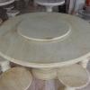 โต๊ะหินอ่อนสีน้ำผึ้งทอง ขนาด 130 เซนติเมตร เก้าอี้ 6 ตัว โต๊ะสูง 80 เซนติเมตร