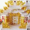 ศาลเจ้าที่ขนาด 27 นิ้ว(รุ่นมั่งมีศรีสุข) 4 เสา 5 หลังคา 8ปลา 8หงส์ 8มังกร หินสีชมพู พ่นทอง