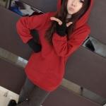 2015 เสื้อคลุมกันหนาว มีฮู้ดหูโค้งมลน่ารัก สีแดง ผ้าฝ้ายฟูลเลอร์ สวยหวานน่ารักมากๆค่ะ