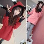 2015 เสื้อคลุมกันหนาว มีฮู้ดหูโค้งมลน่ารัก สีชมพู ผ้าฝ้ายฟูลเลอร์ สวยหวานน่ารักมากๆค่ะ