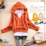 2014 เสื้อคลุมกันหนาวแฟชั่น เสื้อคลุมเวตเตอร์ถักแขนค้าวคาว สีส้ม มีฮู้ด สวยเก๋น่ารักมากๆค่ะ
