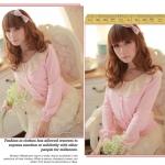 เสื้อคลุมแฟชั่นเกาหลี  : สีชมพู  ระบายลูกไม้ที่คอเสื้อ   สวยน่ารักมากค่ะ **