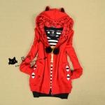 เสื้อคลุมกันหนาว : 2015 เสื้อคลุมกันหนาว มีฮู้ด แมวน้อยน่ารัก สีเเดง ซิปด้านหน้า สวยน่ารักมากๆค่ะ