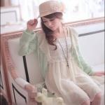 เสื้อคลุมแฟชั่นเกาหลี : สีเขียวมิ้นท์ แขนยาว ระบายลูกไม้ที่คอเสื้อ สวยหวานน่ารักมากๆค่ะ