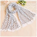 ผ้าพันคอผู้หญิง ผ้าพันคอสไตล์ญี่ปุ่น ผ้าชีฟอง สีขาว ลายจุดสีดำ ขนาด กว้าง 50 ซม.ยาว 160 ซม.