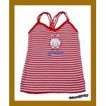 เสื้อผ้าเด็ก ผ้าไหมพรม แบบสไตล์เกาหลี สีแดงขาว + งานปักลายการ์ตูน อายุ3-5ขวบ