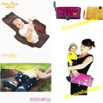 Portable(travel) Baby Changing Mat แผ่นรองซับฉี่เด็กแบบพกพา กระเป๋ารองเปลี่ยนผ้าอ้อนเด็กแบบพกพา ภายในและภายนอกทำจากวัสดุกันน้ำ หนังสีม่วงองุ่น แบรนด์ Aimy Bebe