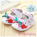 รองเท้าเด็ก รองเท้าหนังพียู รองเท้าเด็กวัยหัดเดิน ลายโบว์ใหญ่ ดอกไม้ พื้นยางกันลื่น ไซต์ 16