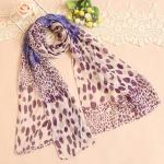ผ้าพันคอผู้หญิง ผ้าพันคอสไตล์ญี่ปุ่น ผ้าพันคอชีฟอง ลายเสือดาว ขนาด กว้าง 50 ซม.ยาว 160 ซม. สีโทนม่วง