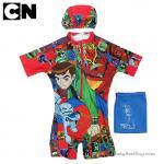 (size L)ชุดว่ายน้ำเด็กผู้ชาย Benten สีแดง บอดี้สูทเสื้อแขนสั้นกางเกงขาสั้นสกรีนลาย Benten มาพร้อมหมวกว่ายน้ำและถุงผ้า สุดเท่ห์ ใส่สบาย ลิขสิทธิ์แท้(สำหรับเด็กอายุ 6-8 ปี)