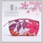 Clinique Cosmetic Bag กระเป๋าเครื่องสำอางคลีนิกซ์ Clinique Coin Purse กระเป๋าใส่สตางค์ สีชมพู-ม่วงดอกไม้